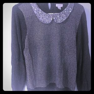 J Crew Factory jeweled collar sweater size L